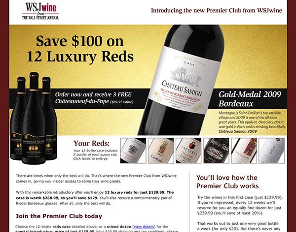 WSJwine Premier Club Landing Page
