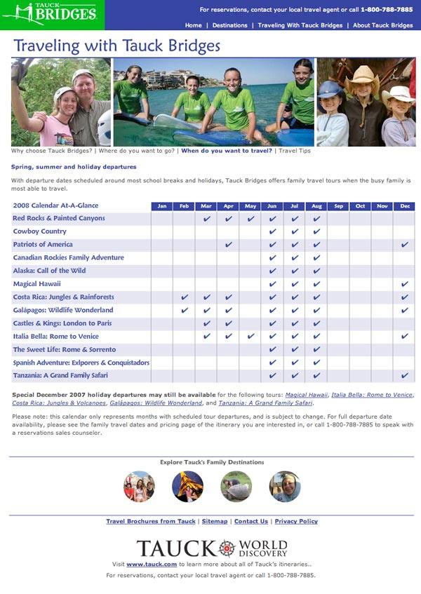 Tauck Bridges Itinerary Calendar