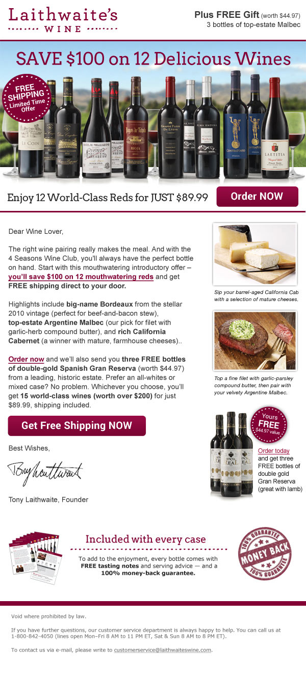 Laithwaite's Wine Recruitment Email