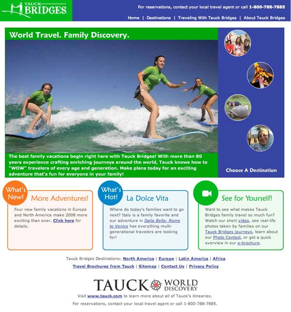 Tauck Bridges Home Page – 2008
