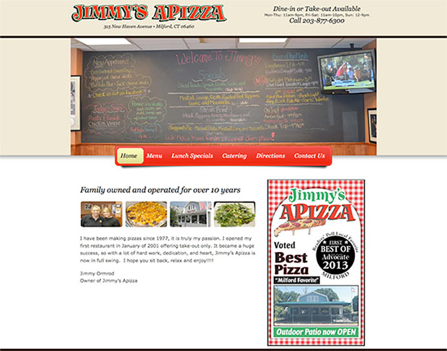 Jimmy's Apizza web site