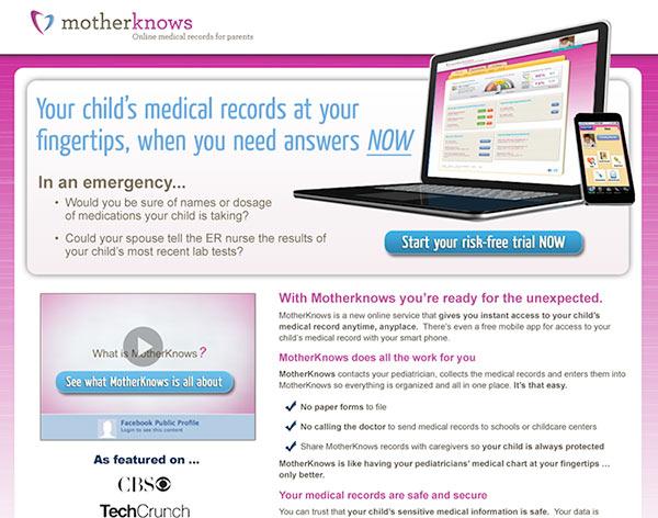 MotherKnows Landing Page Design