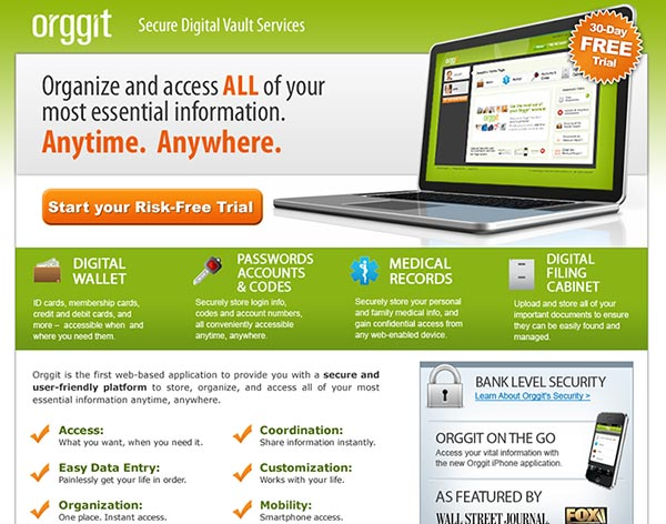 Landing Page Design for Orggit.com
