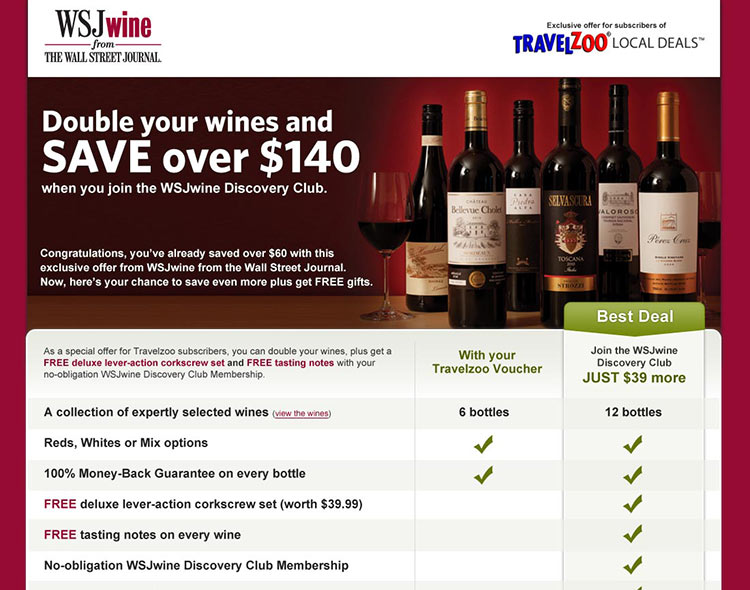 WSJwine – Travelzoo online offer redemption flow